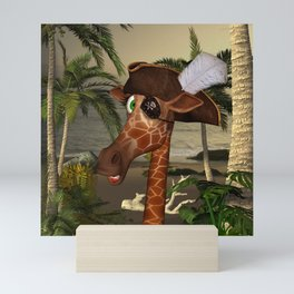 Cute, funny pirate giraffe Mini Art Print