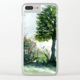 A Lovely Day, Abstract Landscape Art Clear iPhone Case