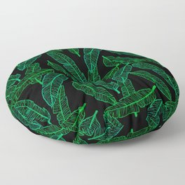 Banana Leaf (Black Glow) - Green Floor Pillow