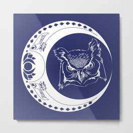 Owl and Moon Metal Print
