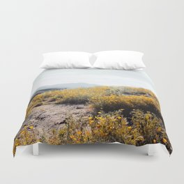 vintage style yellow poppy flower field with summer sunlight Duvet Cover