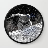 ninja turtle Wall Clocks featuring Black and White Ninja Turtle Leonardo by James Tuer