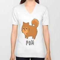 pomeranian V-neck T-shirts featuring Pomeranian by Iroha Kowalski