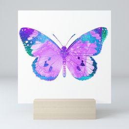 Pink-Lilac Butterfly With Glitter Blue Trim Mini Art Print
