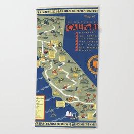 CALIFORNIA University map MAP Berkeley Beach Towel