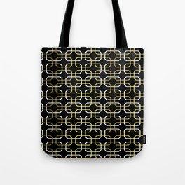 Black White and Gold Octagonal interlocking shapes Tote Bag