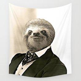 Gentleman Sloth in Authoritative Pose - Cartoon Wall Tapestry