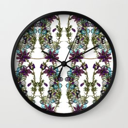 Heather and Multicoloured crystals. Wall Clock