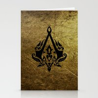 assassins creed Stationery Cards featuring Creed Assassins Grunge Logo by DavinciArt