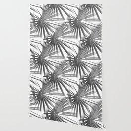 Grey on White Tropical Vibes  Beach Palmtree Vector Wallpaper