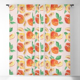 Peaches Slices party in my garden_ Hand Painted modern watercolour & ink Blackout Curtain
