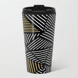 A Linear Black Gold Metal Travel Mug