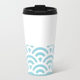 Rainbow Trim Pastel Blue Travel Mug