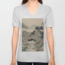 Vintage Japanese Landscape Painting Unisex V-Neck