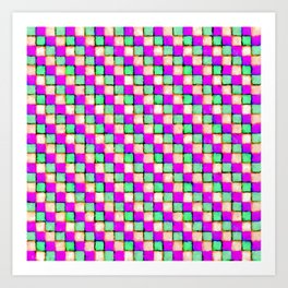 Violet Mint and Coral Patchwork Art Print