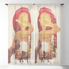 Lufy wano - one piece Sheer Curtain