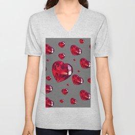 GREY ART RAINING RUBY RED VALENTINES HEARTS Unisex V-Neck
