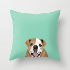 Roscoe - English bulldog dog dogs pet pets gifts for dog person dog people  Throw Pillow