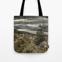 scotland Tote Bags featuring Scotland by Miguel Cardoso