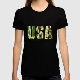 USA khaki camouflage sign T-shirt