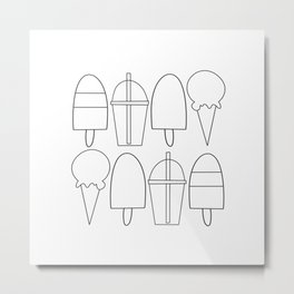 Summer Frozen Treats | Black + White Metal Print