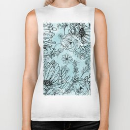 Aquamarine watercolor black hand sketch floral illustration Biker Tank