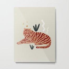 Mid Century Magic Cool Minimal Minimalist Neutral Tones Fantasy Abstract Illustration Pink Tiger Metal Print