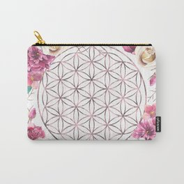 Flower of Life Rose Gold Garden Carry-All Pouch