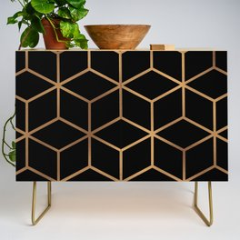 Black and Gold - Geometric Cube Design Credenza