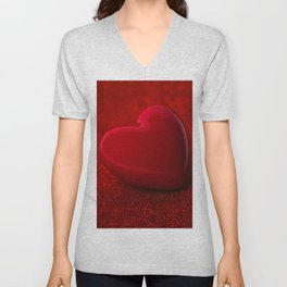 The red Heart shape on red abstract light glitter background Unisex V-Neck