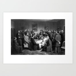 President Abraham Lincoln On His Deathbed Art Print