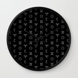 Gemini/Aries + Sun/Moon Zodiac Glyphs Wall Clock
