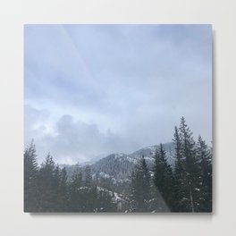 Snowy Peaks Above a Green Forest in Victoria, B.C. (Canada) Metal Print
