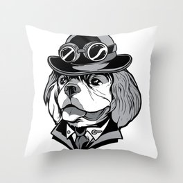 cavalier steampunk dog  Throw Pillow
