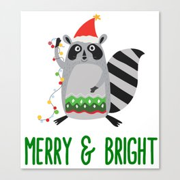 Merry & Bright Racoon with Christmas Lights Canvas Print