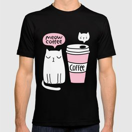 Meow coffee cat T-shirt