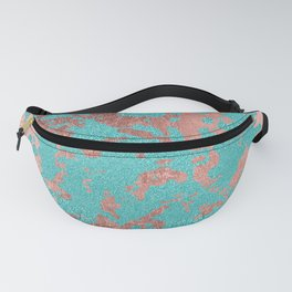 Modern turquoise glitter faux rose gold marble Fanny Pack