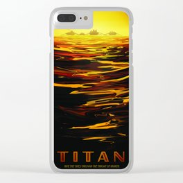 Titan : NASA Retro Solar System Travel Posters Clear iPhone Case
