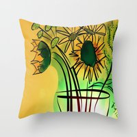 leah flores Throw Pillows featuring Flores by transFIGure