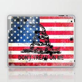 Viper N Bullet Holes On Old Glory - Gadsden and American Flag Laptop & iPad Skin
