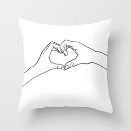 Minimalistic Line Art Heart Hands Throw Pillow