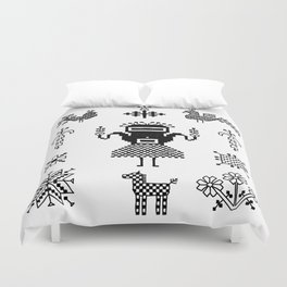 folk embroidery, Collection of flowers, birds, peacocks, horse, man, geometric ornaments, symbols e Duvet Cover