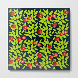 Cherry, apples and leaves print Metal Print