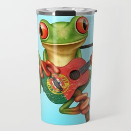 Tree Frog Playing Acoustic Guitar with Flag of Portugal Travel Mug