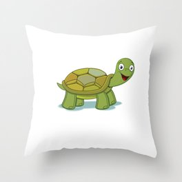 No Stress Funny Turtles Tortoise Reptiles Water Slider Aquamarine Marine Life Animals Gift Throw Pillow