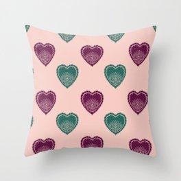 Boho Hearts Throw Pillow