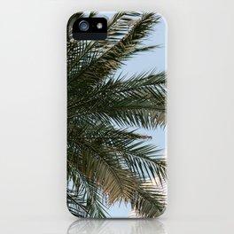 Palm tree below the Burj Khalifa in Dubai   Travel photography art print photo iPhone Case