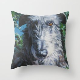 Scottish Deerhound dog art portrait from an original painting by L.A.Shepard Throw Pillow