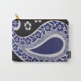 Black and Blue Tanzanian Fabric Carry-All Pouch