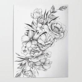 B&W Flowers Poster